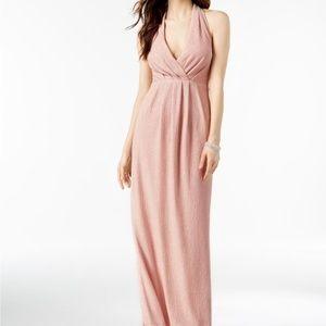 NWT Metallic Shimmer Blush Halter Evening Gown 4